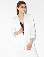 c + Frauenarbeit einfacher Sturz spitzen Revers langärmliges weißes Rayon opaken beeindrucken blazersolid
