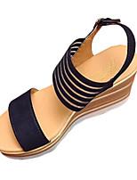 Черный / Бежевый-Женский-На каждый день-Полиуретан-На танкетке-Удобная обувь-Сандалии