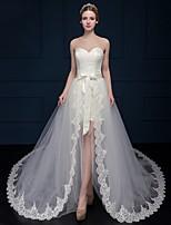시스 / 칼럼 웨딩 드레스 코트 트레인 스윗하트 레이스 / 튤 와 레이스
