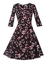 Women's Going out / Casual/Daily Vintage Sheath DressFloral Square Neck Knee-length Long Sleeve