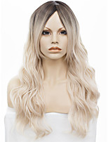 IMSTYLE 22Cosplay Platinum Blonde Ombre Body Wave Synthetic Machine Wig