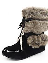 Feminino-Botas-Plataforma Conforto Inovador Botas de Cowboy Botas de Neve Botas Montaria Botas da Moda-Rasteiro Plataforma-Preto Marrom