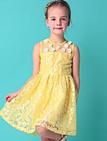 Девичий Платье,На каждый день,Цветочный принт,Другое,Лето,Желтый