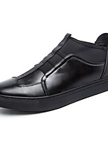 Men's Flats Spring Fall Comfort Leather Outdoor Casual Flat Heel Others Black Walking