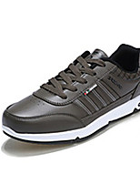 Men's Sneakers Spring Fall Comfort Microfibre Casual Flat Heel Lace-up Black Brown Khaki Walking