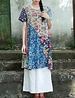 Chemise Femme,Mosaïque Décontracté / Quotidien Chinoiserie Printemps / Eté Manches Courtes Col Arrondi Bleu Coton Fin