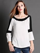AJIDUO Women's Round Neck Long Sleeve T Shirt White-9135