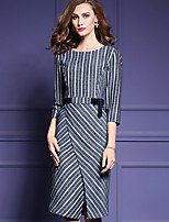Women's Casual/Daily Simple Sheath Dress,Striped Round Neck Midi ¾ Sleeve Black Polyester Fall