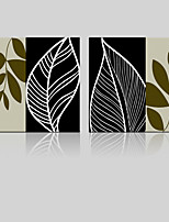 JAMMORY Canvas Set Landscape ,Two Panels Gallery Wrapped, Ready To Hang Vertical Print No Frame Simple Leaves