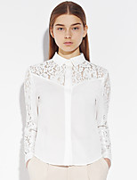 Women's Going out Sophisticated Spring / Fall ShirtSolid Shirt Collar Long Sleeve White Cotton / Polyester Medium