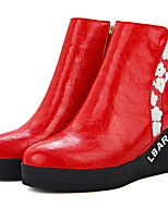 Women's Boots Spring / Fall / Winter Fashion Boots Leatherette/ Casual Wedge Heel Others / FlowerBlack / Red / White /
