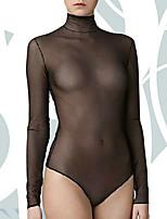 Для женщин Ультра-секси Ночное белье Сексуальные платья Однотонный-Средний Полиэстер Белый / Черный Женский