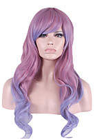 Synthetic Wigs Long Curly Purple/Blue Ombre Cosplay Capless Wigs