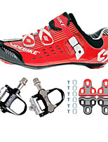 03 Cycling Shoes Unisex Outdoor / Road Bike Sneakers Damping / Cushioning Red / Black-sidebike And Black Rock Pedals