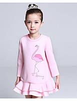 Girl's Casual/Daily Print DressCotton / Polyester Winter / Spring / Fall Black / Pink / White