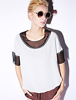 NEW BEFORE  Women's Casual/Daily Simple Summer BlouseColor Block Round Neck Length Sleeve