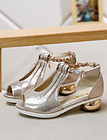 Girl's Sandals Summer Sandals / Open Toe Leatherette Casual Chunky Heel Sequin Gold Others