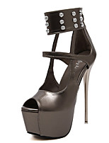 Women's Sandals Summer Peep Toe PU Casual Stiletto Heel Rivet Silver Others