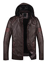 Men's Long Sleeve Casual / Sport JacketPU Solid Black / Brown