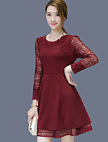 Women's Plus Size / Going out Simple Sheath Dress,Solid Round Neck Above Knee Long Sleeve Red / Black Polyester