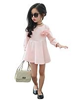 Mädchen Kleid-Ausgehen einfarbig Baumwolle Sommer Rosa / Lila / Weiß