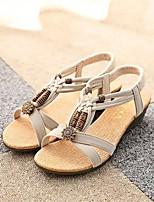 Damen-Sandalen-Lässig-Mikrofaser-Keilabsatz-Komfort-Schwarz / Beige