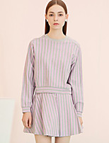 I'HAPPY Women's Casual/Daily Simple Spring / Fall Set SkirtStriped Crew Neck Long Sleeve Purple