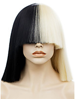 IMSTYLE 14Awesome Half Black Half Blonde Bang Staright Synthetic Machine Wig