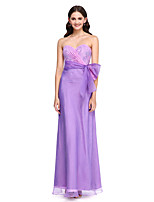 Lanting Bride®Floor-length Lace / Organza Bridesmaid Dress - Elegant Sheath / Column Sweetheart with Bow(s) / Lace / Sash / Ribbon / Side Draping