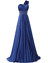 Formal Evening Dress A-line One Shoulder Floor-length Satin with Beading / Pleats