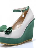 Women's Heels Spring / Summer / Fall / Winter Platform / Comfort PU Casual Wedge Heel Bowknot / Pearl / Buckle