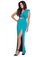 Feminino Chifon Vestido,Casual Sensual / Simples Sólido Decote V Longo Sem Manga Azul Modal / Poliéster Primavera / Verão Cintura Alta