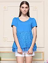Tee-shirt Femme,Jacquard Sortie Vintage Printemps / Automne Manches Courtes Col Arrondi Bleu / Noir Coton / Modal / Polyester / Spandex
