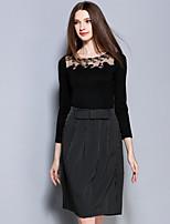AINIER  Women's Work Vintage Spring Set SkirtStriped Boat Neck Sleeve Black