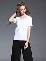 FRMZ  Women's Casual/Daily Simple Summer T-shirtSolid V Neck Short Sleeve White Cotton Opaque