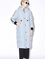 новый, прежде чем женщины печати синий / черный вниз coatsimple / Chinoiserie с капюшоном с длинным рукавом