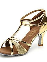 Non Customizable Women's Dance Shoes Satin Satin Latin Sandals Chunky Heel Performance Brown / Silver / Gold