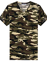 Men's Camouflage Casual Sport Cotton V-neck Short Sleeve Green T-Shirt