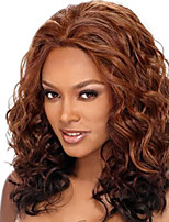 18inch Medium Brown #4 Lace Front Wavy Human Hair Human Hair Lace Front Wigs