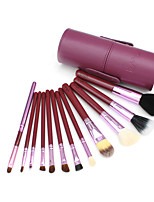 12 Makeup Brushes Set Goat Hair Professional / Portable Wood Handle Face/Eye/Lip