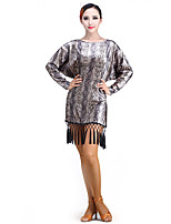 Latin Dance Dresses Performance Chinlon / Velvet Tassel(s) 1 Piece Long Sleeve Dress