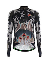 Sports Cycling Jersey Men's Long Sleeve Breathable / Thermal / Warm / Quick Dry / Front Zipper / Back Pocket /