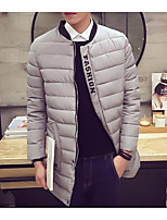 Men's Long Padded Coat,Simple Casual/Daily Solid-Polyester Polyester Long Sleeve Stand Blue / Black / Gray