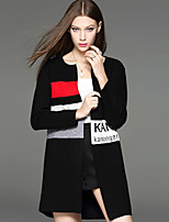 CELINEIA Women's Casual/Daily Simple CoatSolid Long Sleeve Black Cotton / Polyester