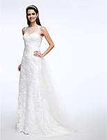 Lanting Bride® Linea-A Abito da sposa Strascico di corte Con decorazione gioiello Di pizzo / Tulle con Con applicazioni / Bottoni