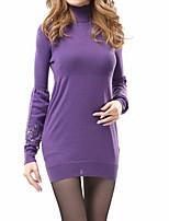 Long Pullover Femme Sortie / Décontracté / Quotidien Sexy / Chic de Rue,Couleur Pleine Gris / Violet Col Roulé Manches Longues Coton