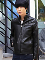 Men's Casual/Daily Simple Jackets,Solid Long Sleeve Fall Black / Brown Polyester Medium
