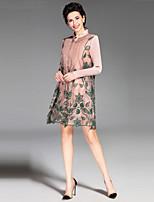Gaine Robe Femme Sortie Décontracté / Quotidien Vintage simple,Broderie Col Arrondi Au dessus du genou Manches Longues Rose Noir Vert Soie