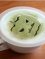 8Pcs Halloween Plastic Garland Mold Spray Fancy Coffee Milk Foam Printing Model Template Pattern Is Random