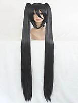vocaloid synthétique de haute qualité 130cm longue tressée droite cosplay perruque noire